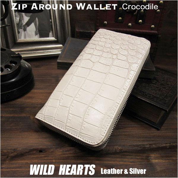 77682990fa67 長財布 クロコダイル/ワニ革 牛革 ラウンドファスナー ヒマラヤ ホワイト/白 Crocodile Skin Leather.